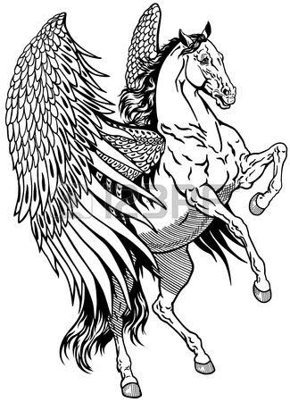 Weiß Pegasus Mythologischen Geflügelte Pferd Schwarz Weiß