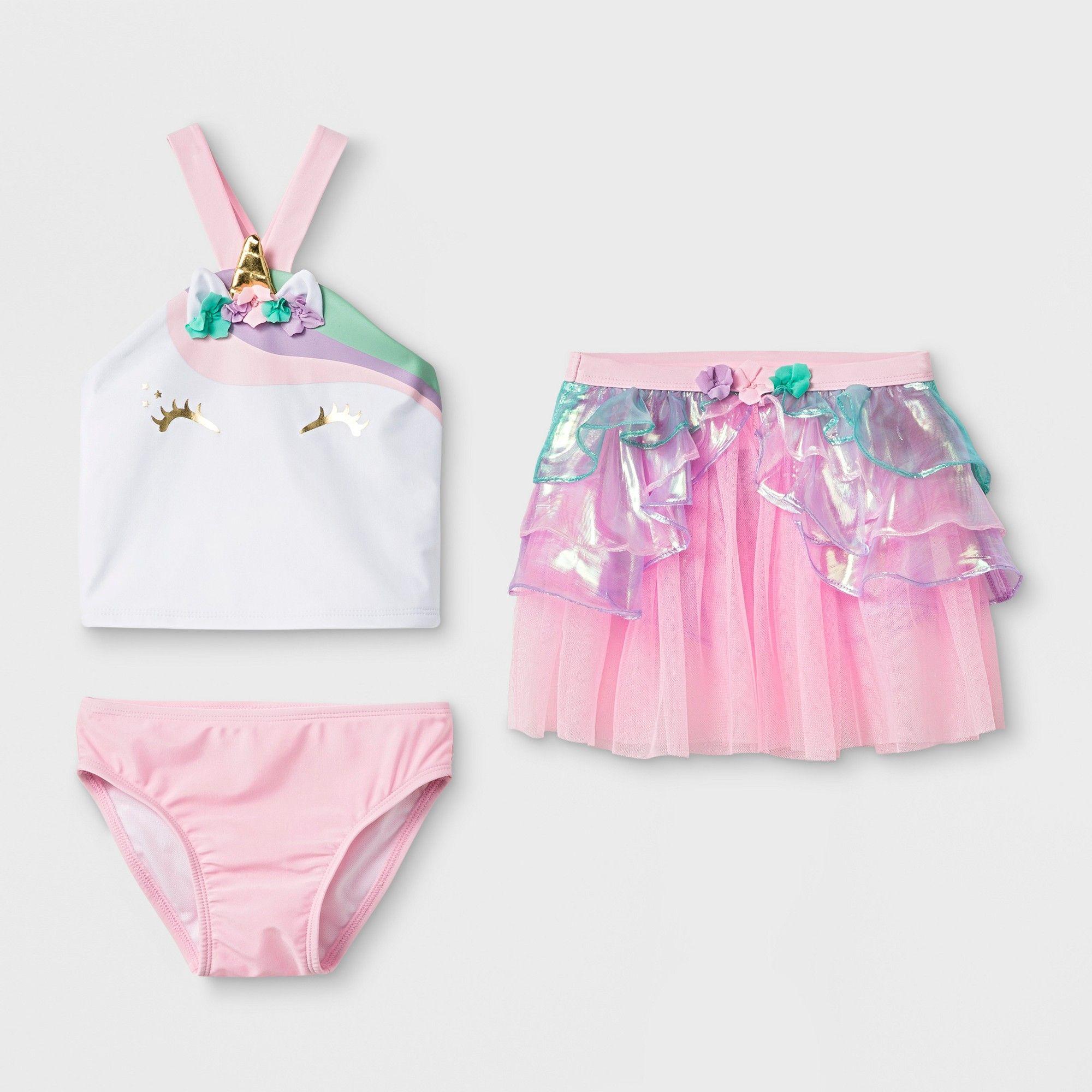 0c5165f5e Toddler Girls' 3pc Unicorn Tankini Set - Cat & Jack Pink 4T ...