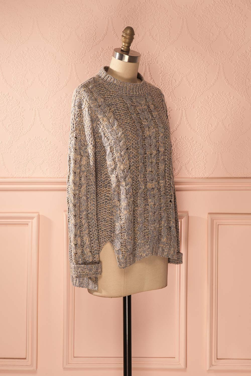Olivina - Grey and peach knit sweater