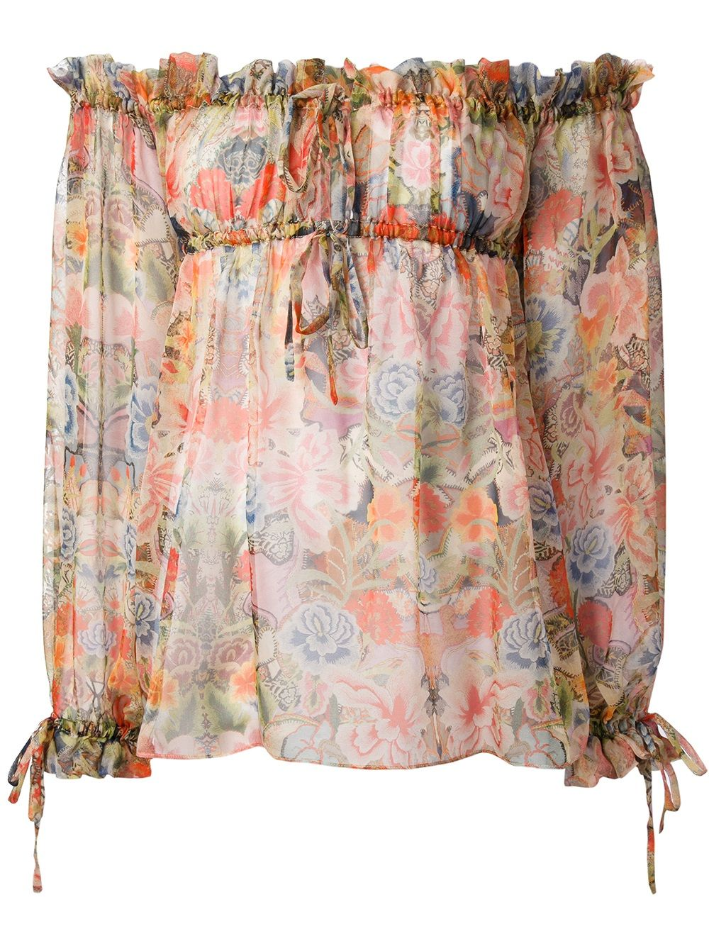 Multi-colour silk blouse from Alexander McQueen featuring a gathered square neckline, an empire line silhouette, a floral print, three-quarter length sleeves with tie fastening cuffs and a curved hemline.