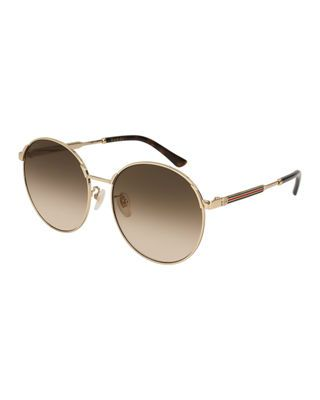 678b144e3a24 Gucci Round Metal Web Sunglasses | Products | Sunglasses, Gucci ...