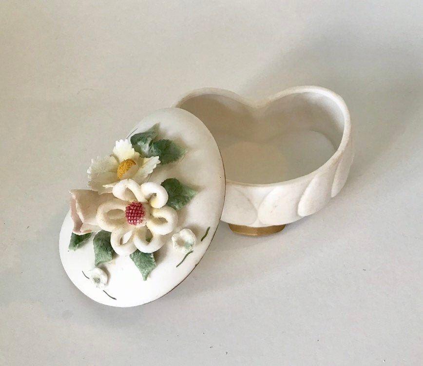 Decorative Retro Phone Shaped Box Gift For Her White Ceramic Trinket Box Vintage Jewelry Ceramic Box Women/'s Gift