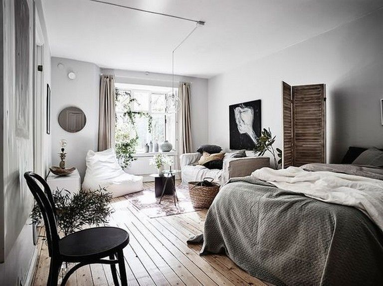 10 Admirable Ideas Of Minimalist And Simple One Room Apartment Apartment Apartmentdecorating Apartmen Apartment Room One Room Flat Bedroom Furniture Layout