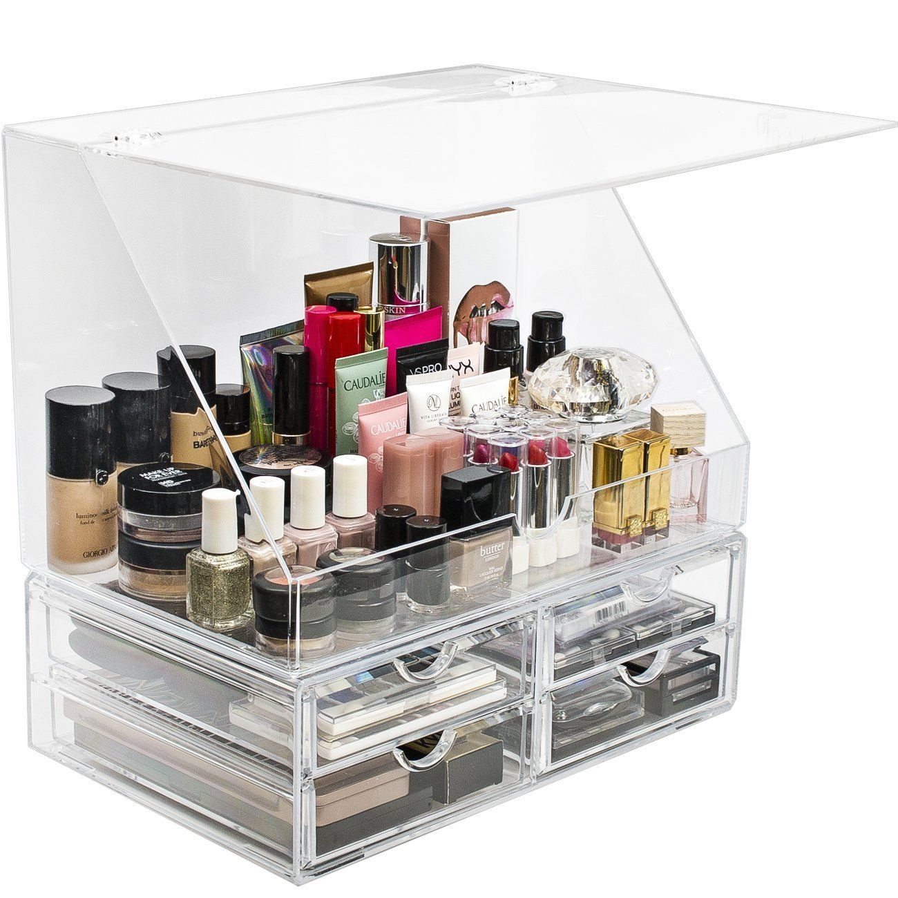 Sorbus Acrylic Cosmetics Makeup Organizer Storage Case Holder Display With Slanted Front Open Lid Cosmetic