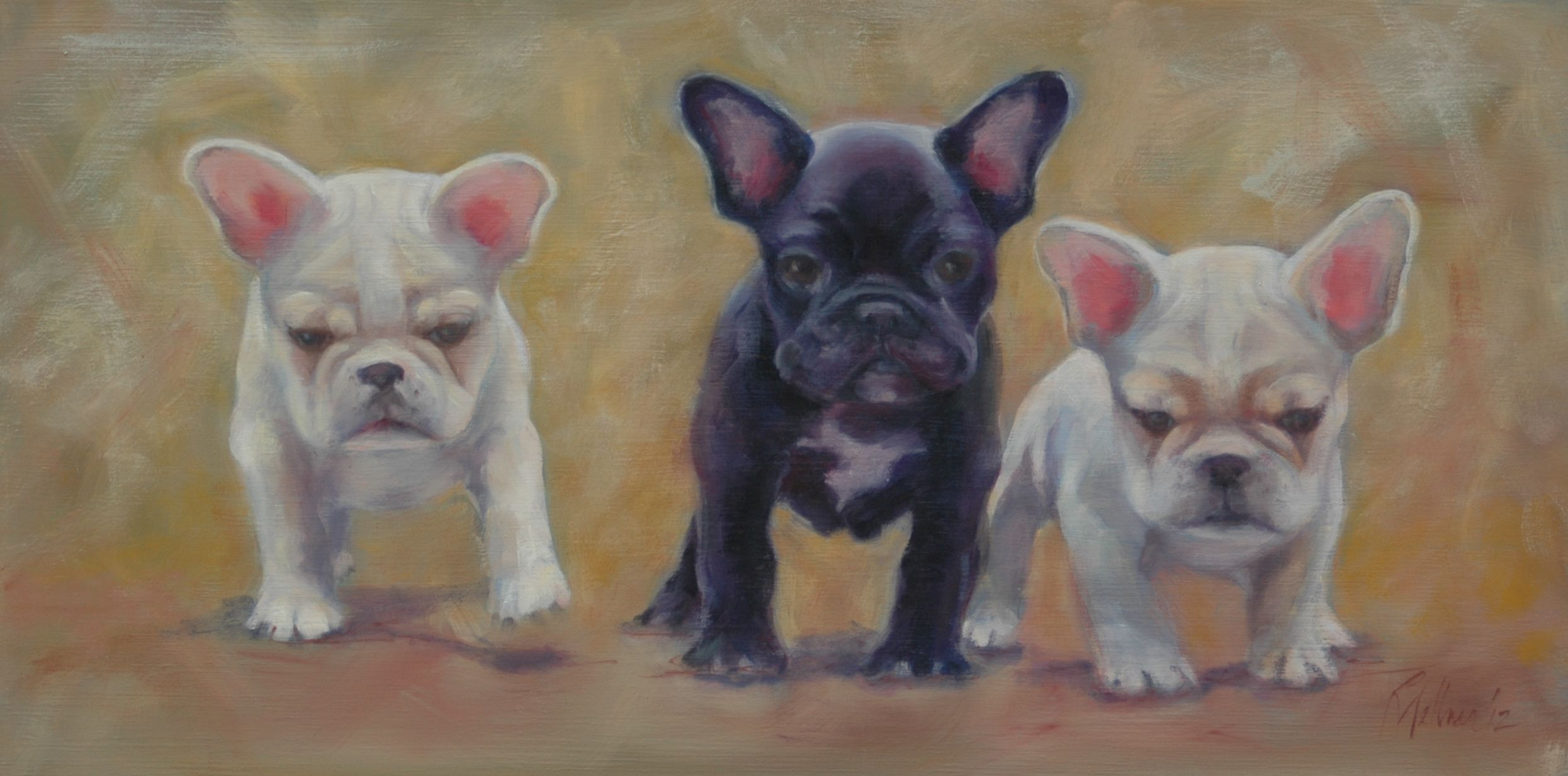 French Bulldog Puppies Pet portraits, Dog art, French