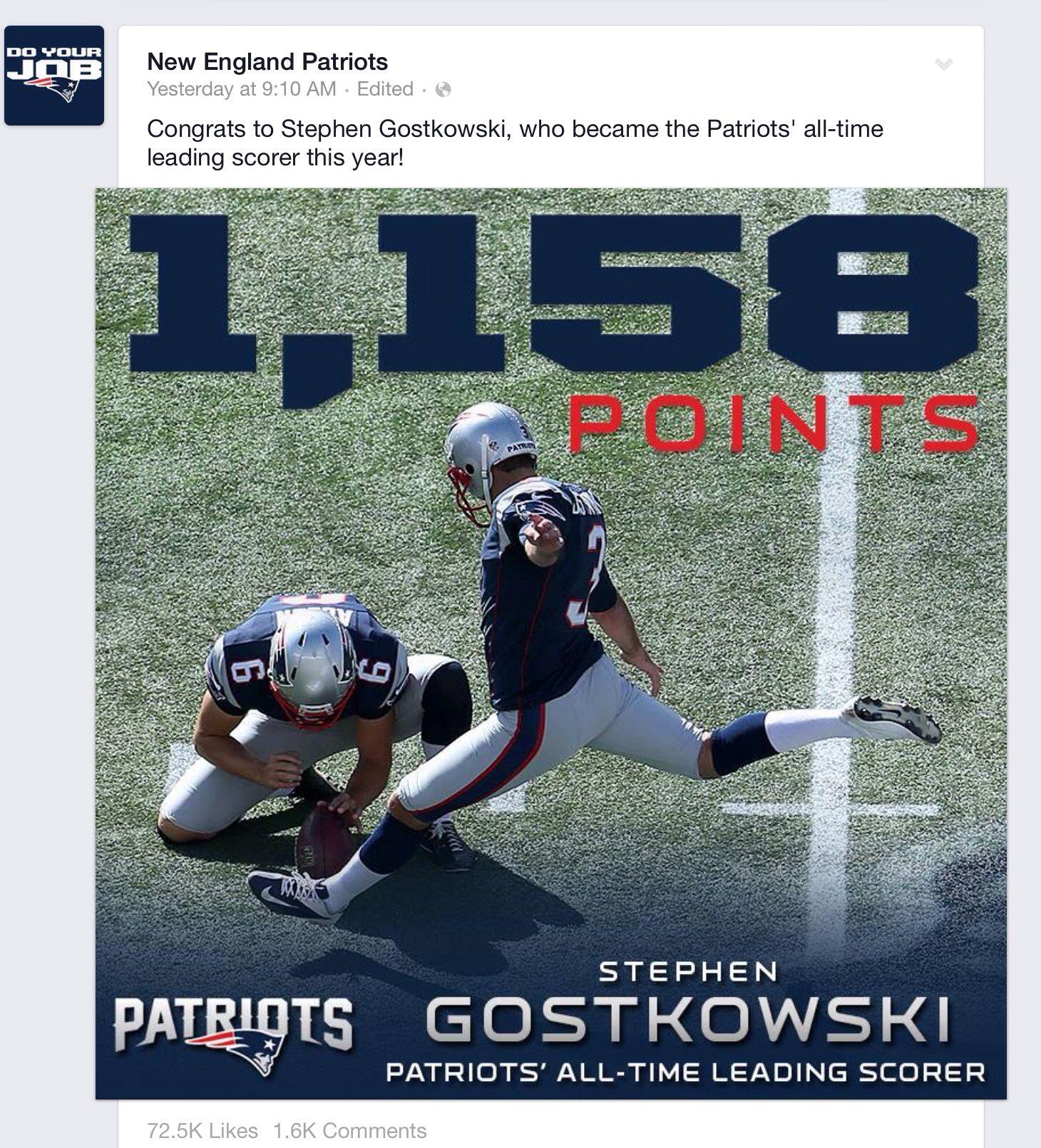Yeahhhh Gostowski New England Patriots New England Patriots Merchandise Patriots Football