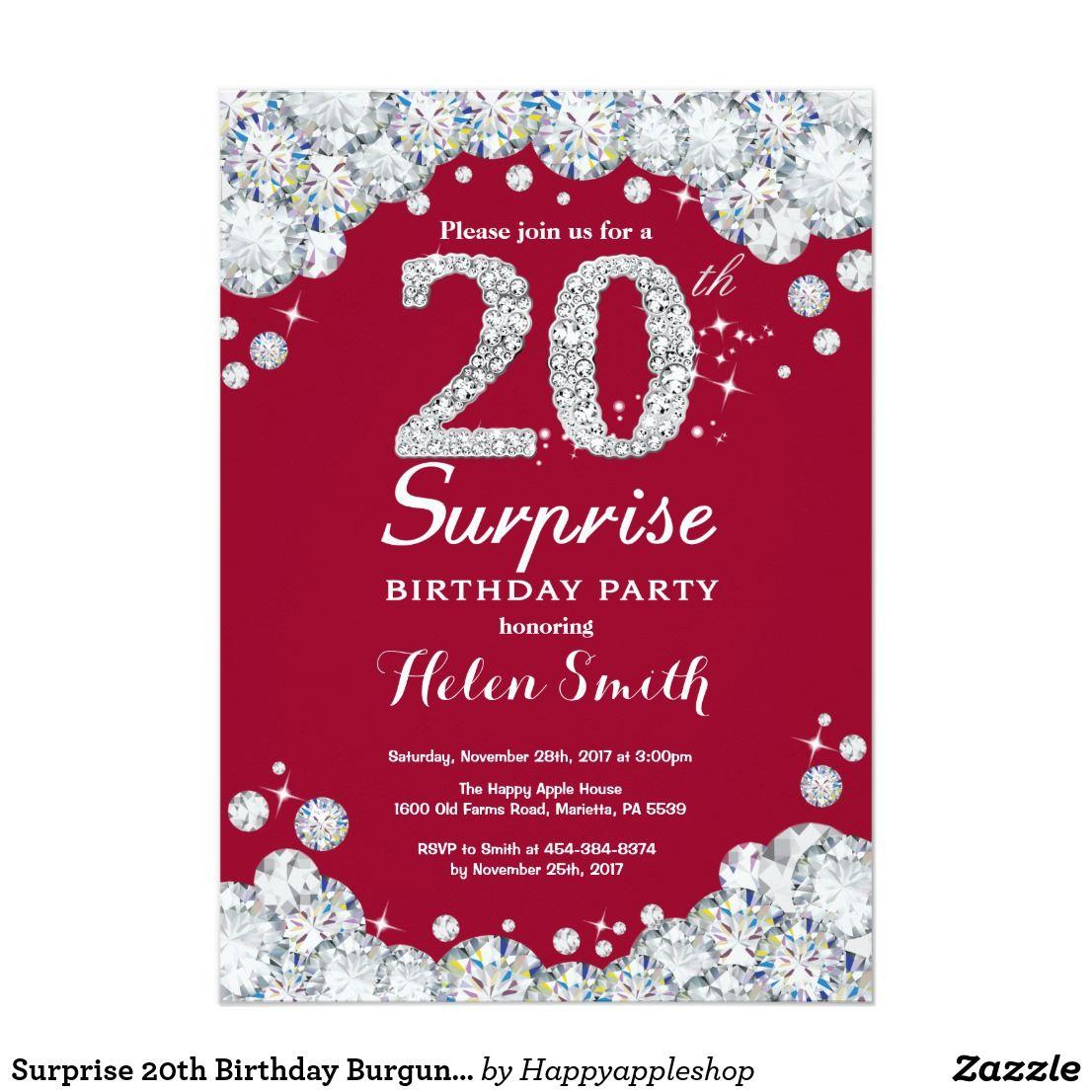 Surprise 20th Birthday Burgundy Red Silver Diamond