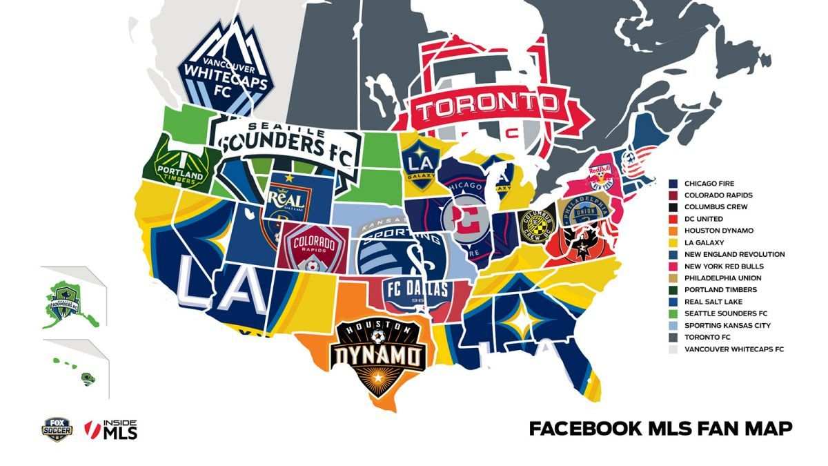 FOX Soccer Facebook Combine To Map Out MLS Fans In USA And Canada - Map of baseball teams in us