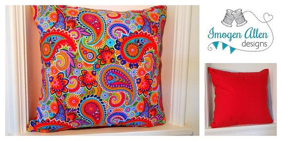 Fabulously bright multicoloured paisley cotton fabric cushion by ImogenAllenDesigns on Etsy https://www.etsy.com/listing/190038731/fabulously-bright-multicoloured-paisley