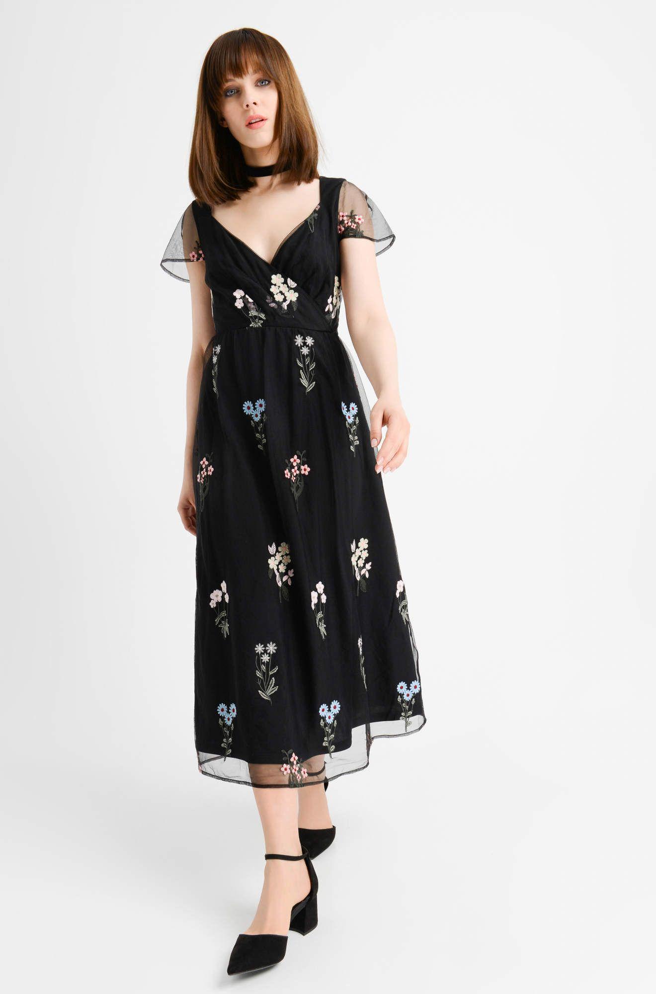 Sukienka Midi W Kwiaty Orsay Fashion Outfits Dresses Cold Shoulder Dress