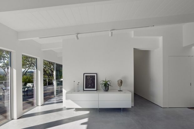 A Ranch-Style Home Transformed Into a Modern Vision of Simplicity | California Home + Design  concrete floors, white on white