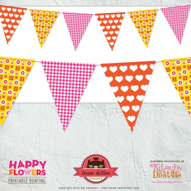 Happy Flowers - free Printable bunting | bunting and banners ...