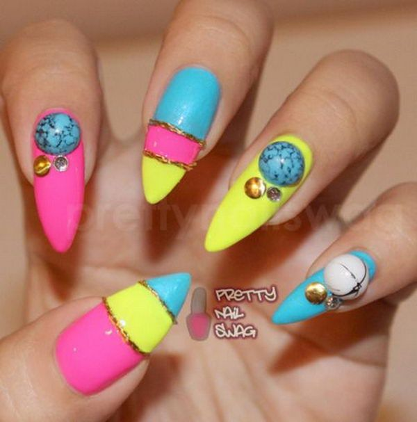 35 Cool 3d Nail Art Pointed Nails Nail Nail And Stiletto Nail Art