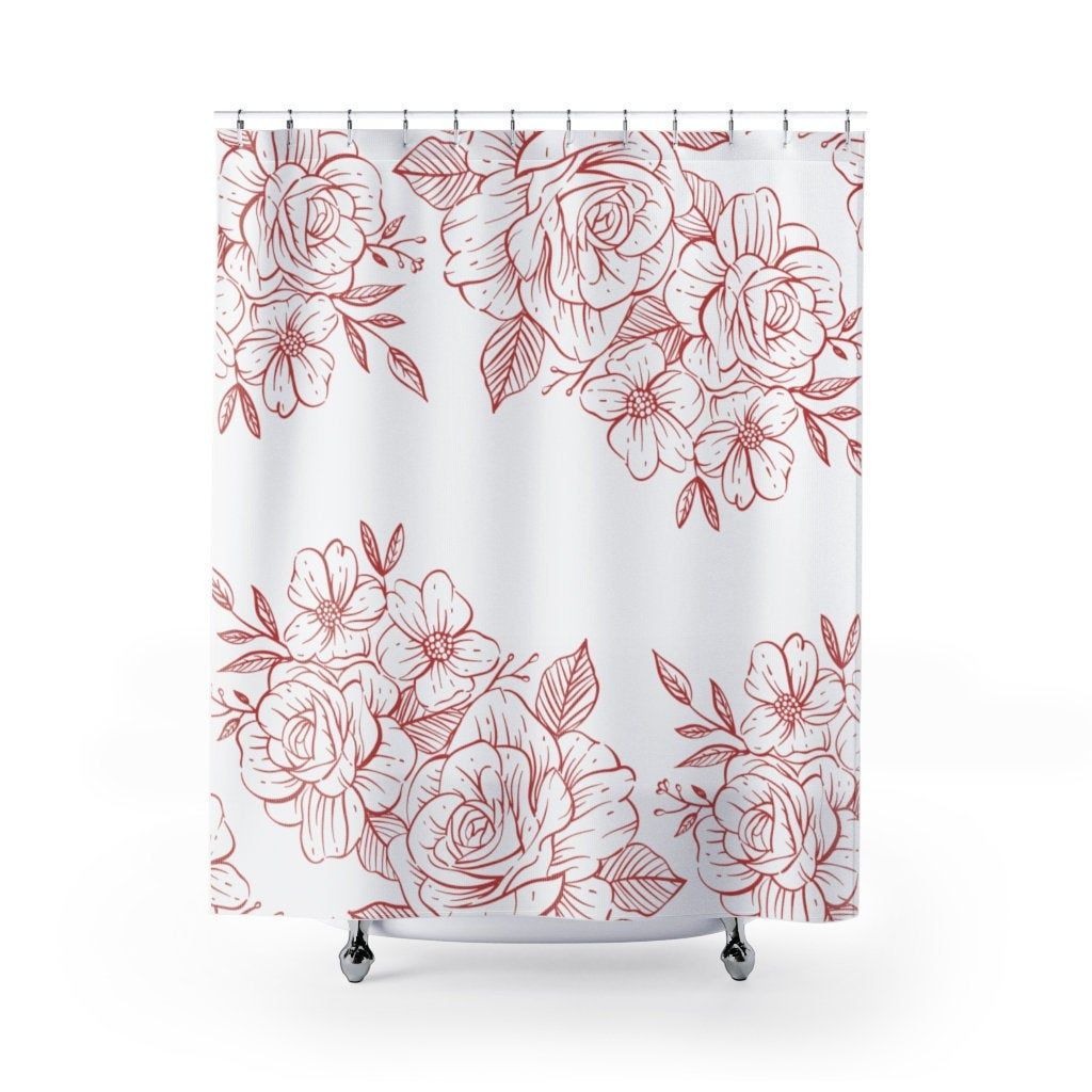 Roses Tapestry Shower Curtain Farmhouse Shower Curtain Extra