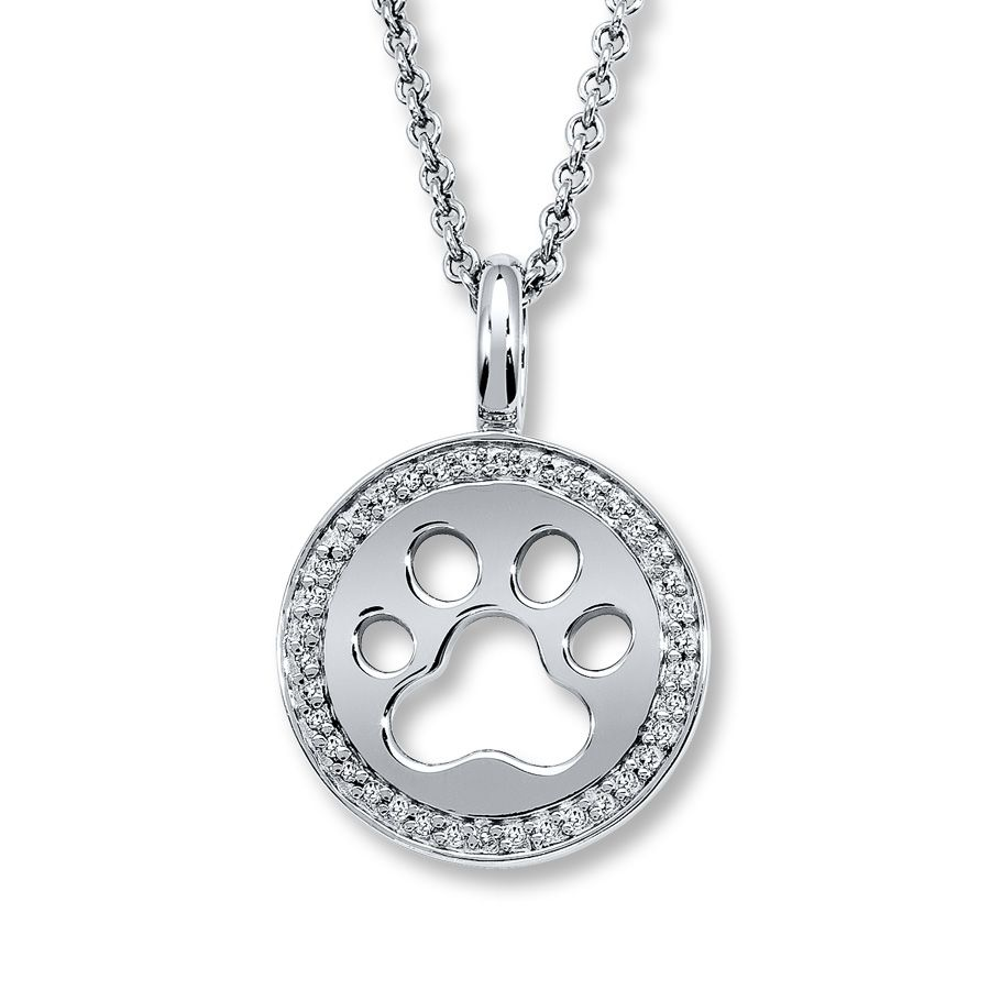 Jared Diamond Pawprint Necklace 110 ct tw Roundcut Sterling