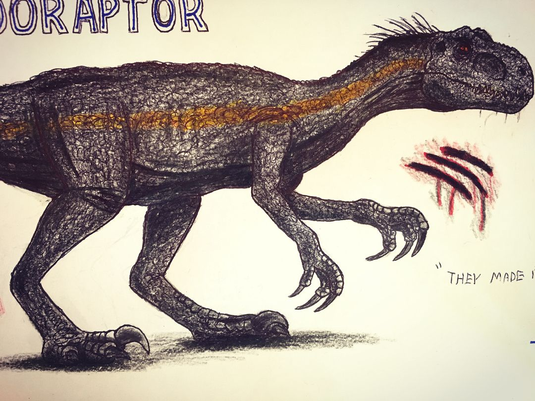 Indoraptor size comparison with human drawings done
