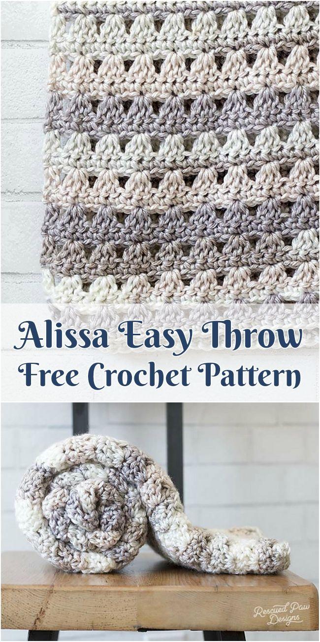 Alissa Easy Throw [Free Crochet Pattern] Adorable crochet afghan ...