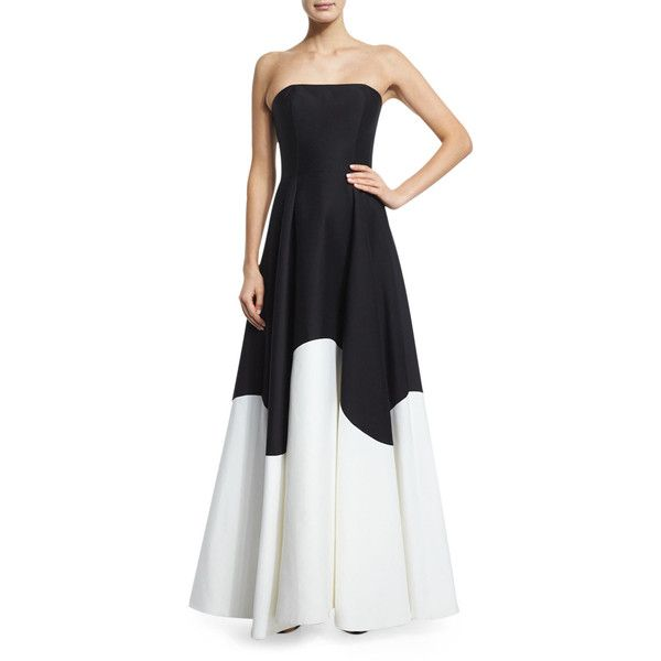 Halston Heritage Strapless Colorblock Structured Gown ($745 ...