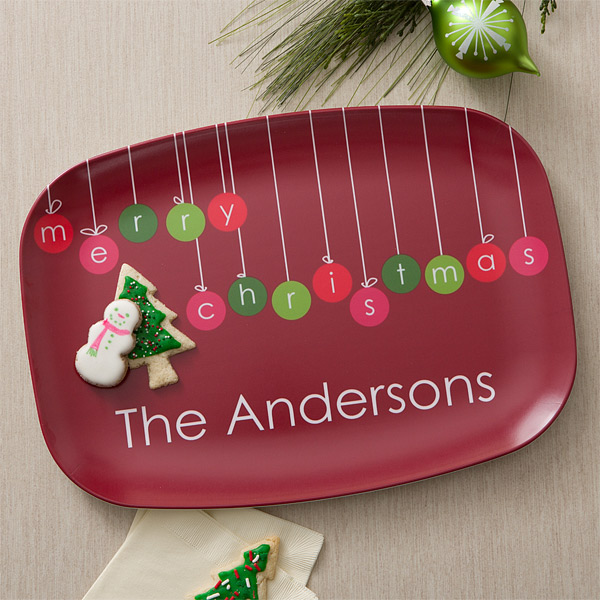 Hanging Ornaments Personalized Melamine Dinnerware Personalized Christmas Gifts Christmas Platter Personalized Christmas