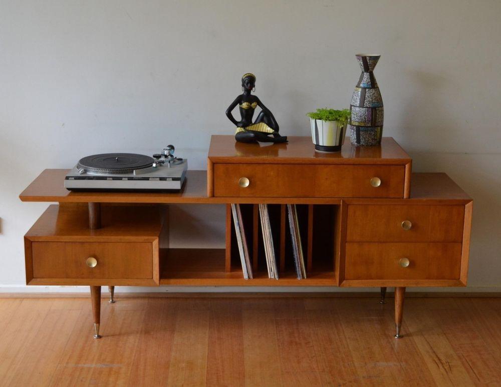 Retro Mcm Mid Century Danish Modern Sideboard Tv Hi Fi 12 Vinyl