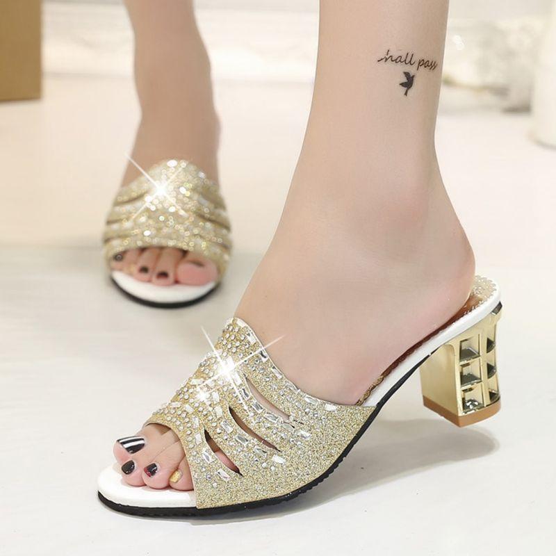 Fashion Sandals Women - Ladies Summer Peep Toe Sandals Square Heeled Slipper Shoes