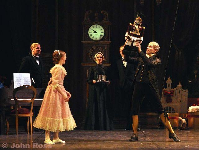 Annabella Sanders as Clara and Fabian Reimair as Drosselmayer with Nutcracker Doll in English National Ballet's Nutcracker. Photo by John Ross