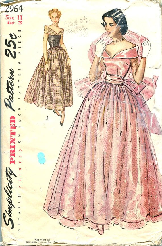 Vintage sewing pattern ball gown sorry
