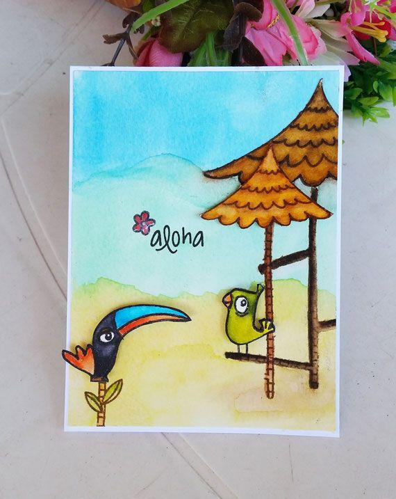 Fun Summer Watercolor Card Avery Elle Tweet Tweet