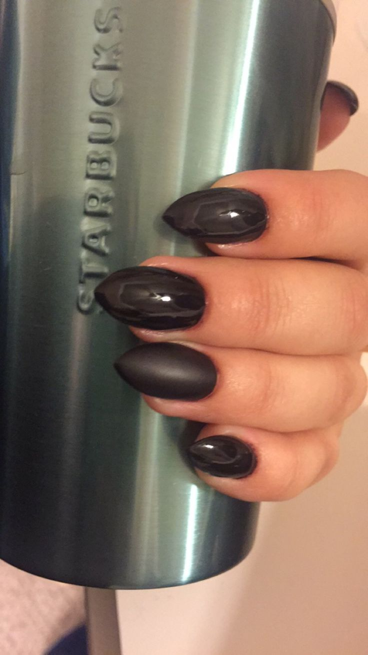 Almost black purple almond shaped nails with matte accent