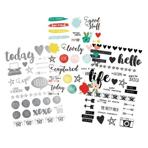 Carpe diem clear stickers life in color planner binder journal calendar accessories words sayings icons