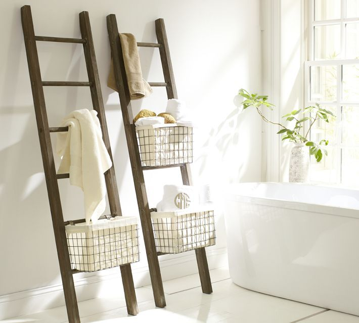 Luxe Bathroom Picks For The Spa Lover Ladder Storage Bathroom Ladder Ladder Towel Racks