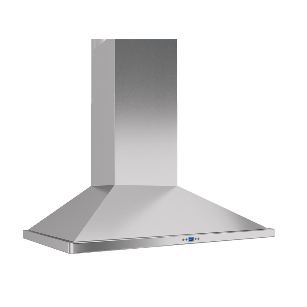 Zephyr Venezia 42 In Convertible Wall Mount Range Hood With Led Lights In Stainless Steel Zve E42cs The Home Depot Wall Mount Range Hood Range Hood Led Lights