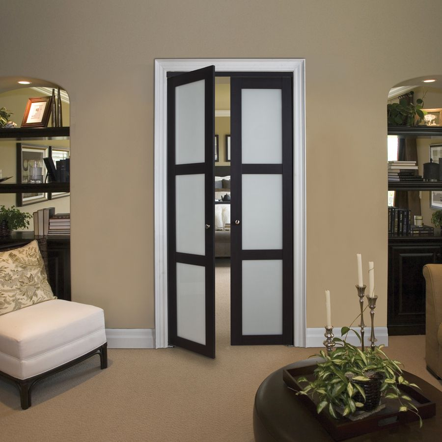 Shop kingstar 3 lite frosted pivot interior door common 30 in x elevate your room by swapping your standard bedroom door with dramatic double closet doors rich espresso finish and frosted glass offers elegance and eventelaan Gallery