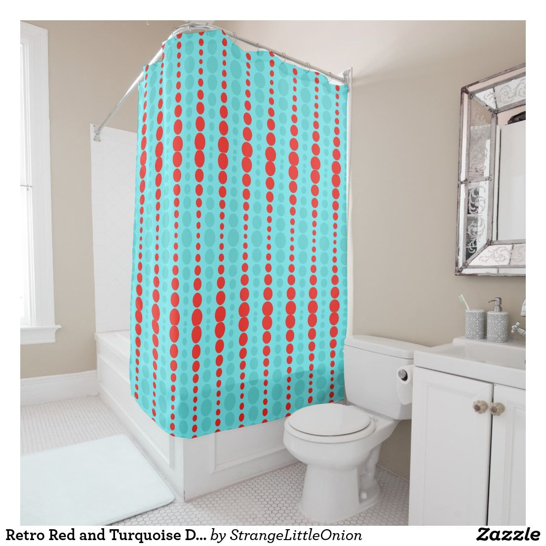 Retro Red and Turquoise Dots Shower Curtain   Bath:Shower Curtains ...
