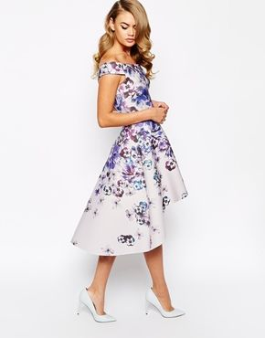 True Violet Printed Off Shoulder Prom Dress With High Low Hem At Asos Com Formal Wedding Guest Dress Wedding Guest Dress Beautiful Dresses