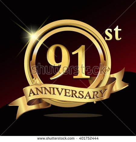 91st golden anniversary logo, 91 years anniversary celebration with ring and ribbon. - stock vector