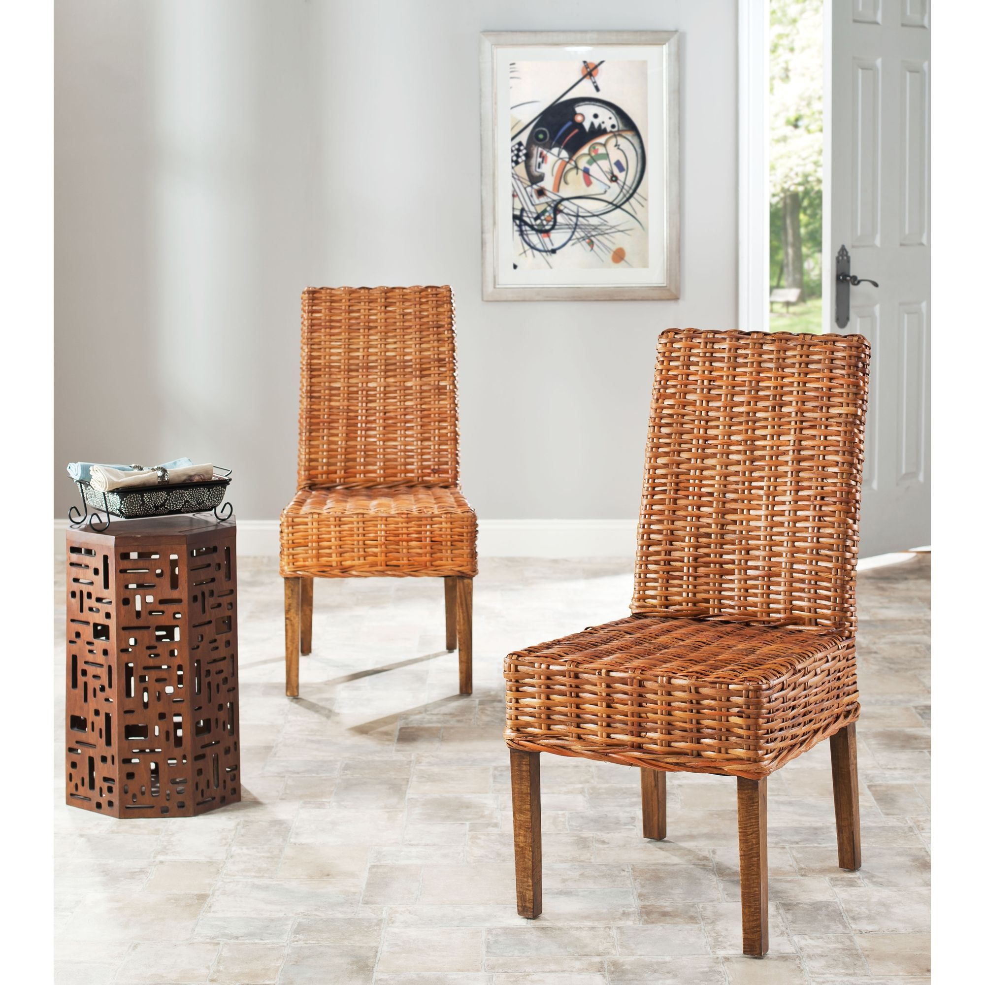 Safavieh Rural Woven Dining Stthomas Indoor Wicker Honey Dining Fascinating Indoor Wicker Dining Room Sets Design Inspiration