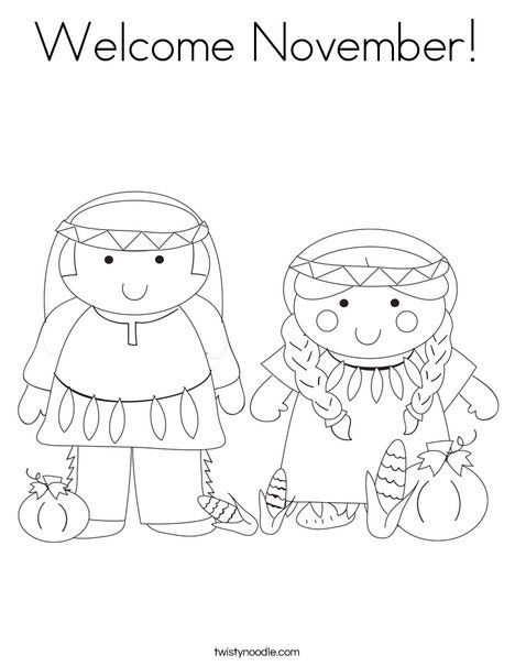 Welcome November Coloring Page - Twisty Noodle | Thanksgiving ...