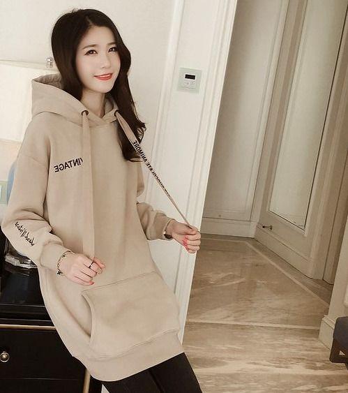 Womens Long Lace Big Pocket Hoodie Teenagers Fashion Letter Loose Coats
