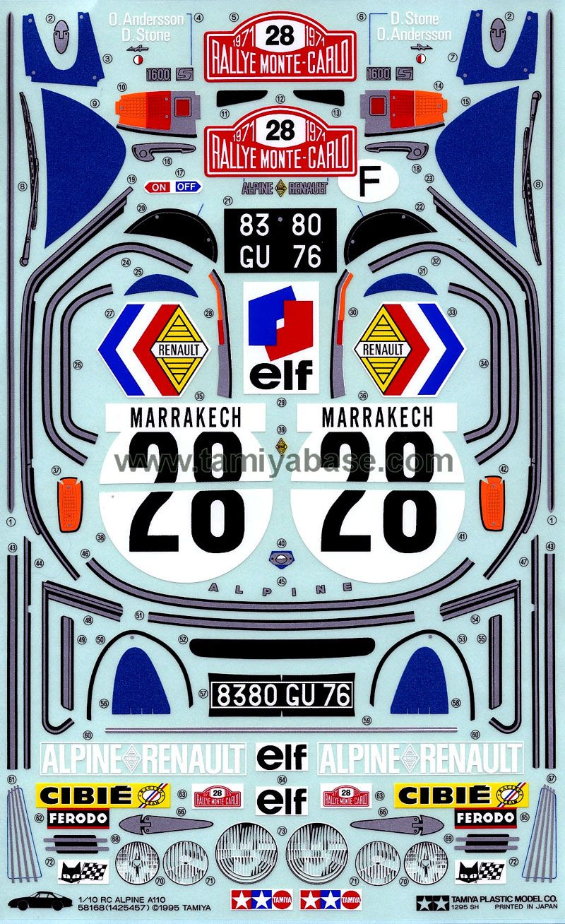 Tamiya 58168 Alpine A110 Vinyl Decal Stickers Ferodo Tamiya [ 1308 x 800 Pixel ]