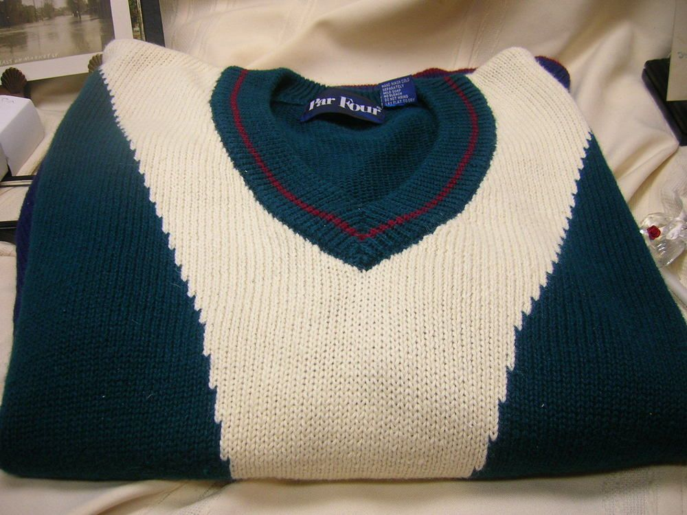 Men's Sweater Par Four Size XL Green Blue Cream Red Detailing V-Neck  #ParFour #VNeck