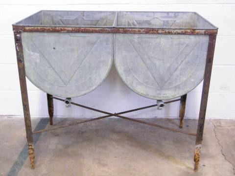 Columbus Architectural Salvage Double Bowl Metal Wash
