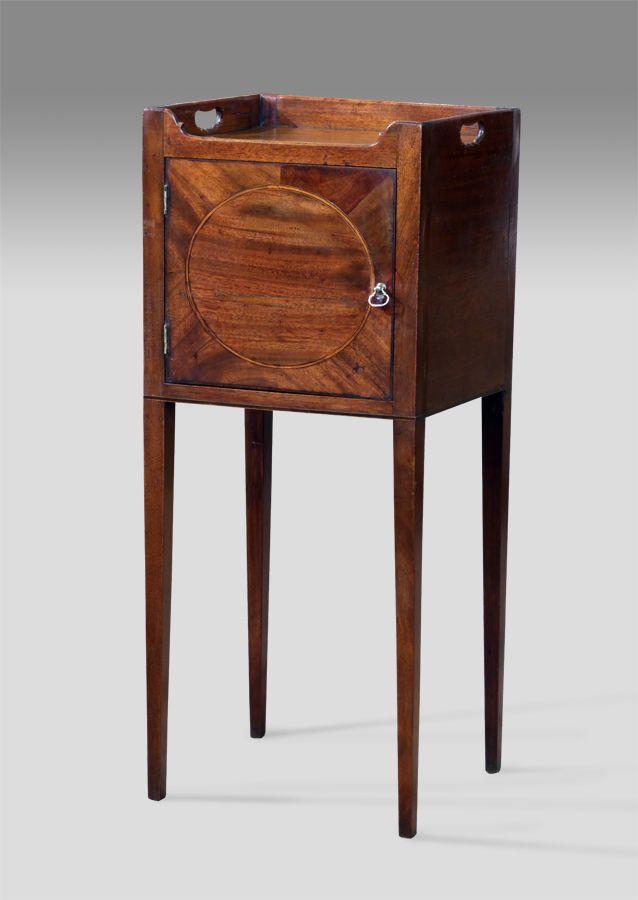 Attractive George III mahogany pot cupboard. Gallery top over a segmented  cupboard door with inset oval panel and boxwood and ebony stringing. - Antique Pot Cupboard In 2018 Furniture Pinterest Cupboard