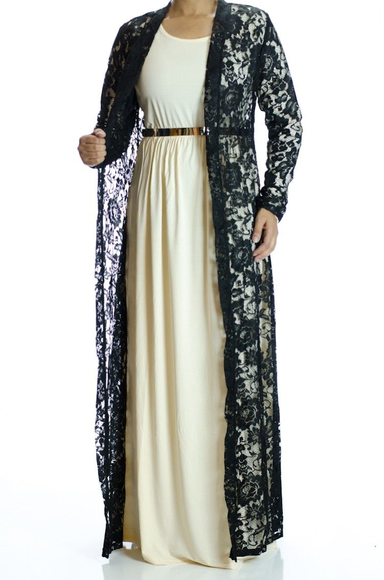 Black Lace Maxi Cardigan | Hijab Fashion | Pinterest | Maxi ...
