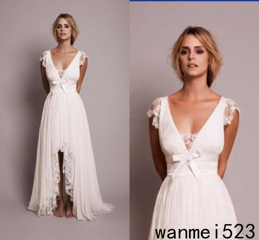sexy country boho bohemian chiffon hi low wedding dresses v