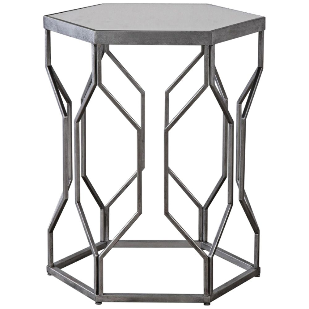 Uttermost Stellan Silver Leaf And Mirror Top Accent Table Style