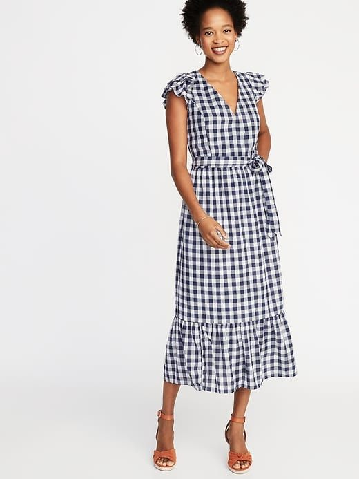 b819027c960 Old Navy Women's Waist-Defined Wrap-Front Gingham Midi Navy Gingham Size XXL