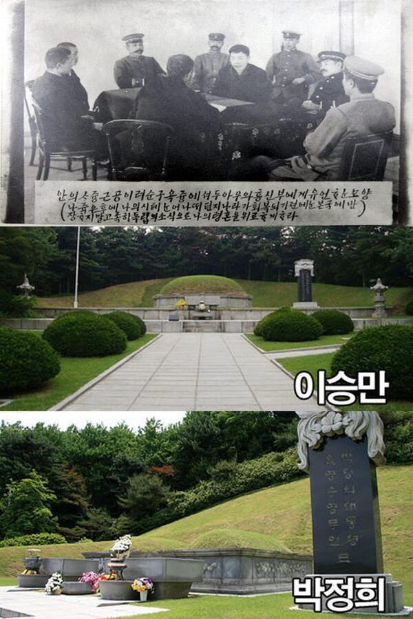 국립묘지(서울현충원)에는 이승만, 박정희 무덤이 있습니다. 이승만은 친일파를 보호, 4.19혁명 시민에게 총을 발포. 박정희는 日장교 출신의 독재자. 반면 안중근 의사 유골은 백년 넘게 찾지 못하고 있습니다.