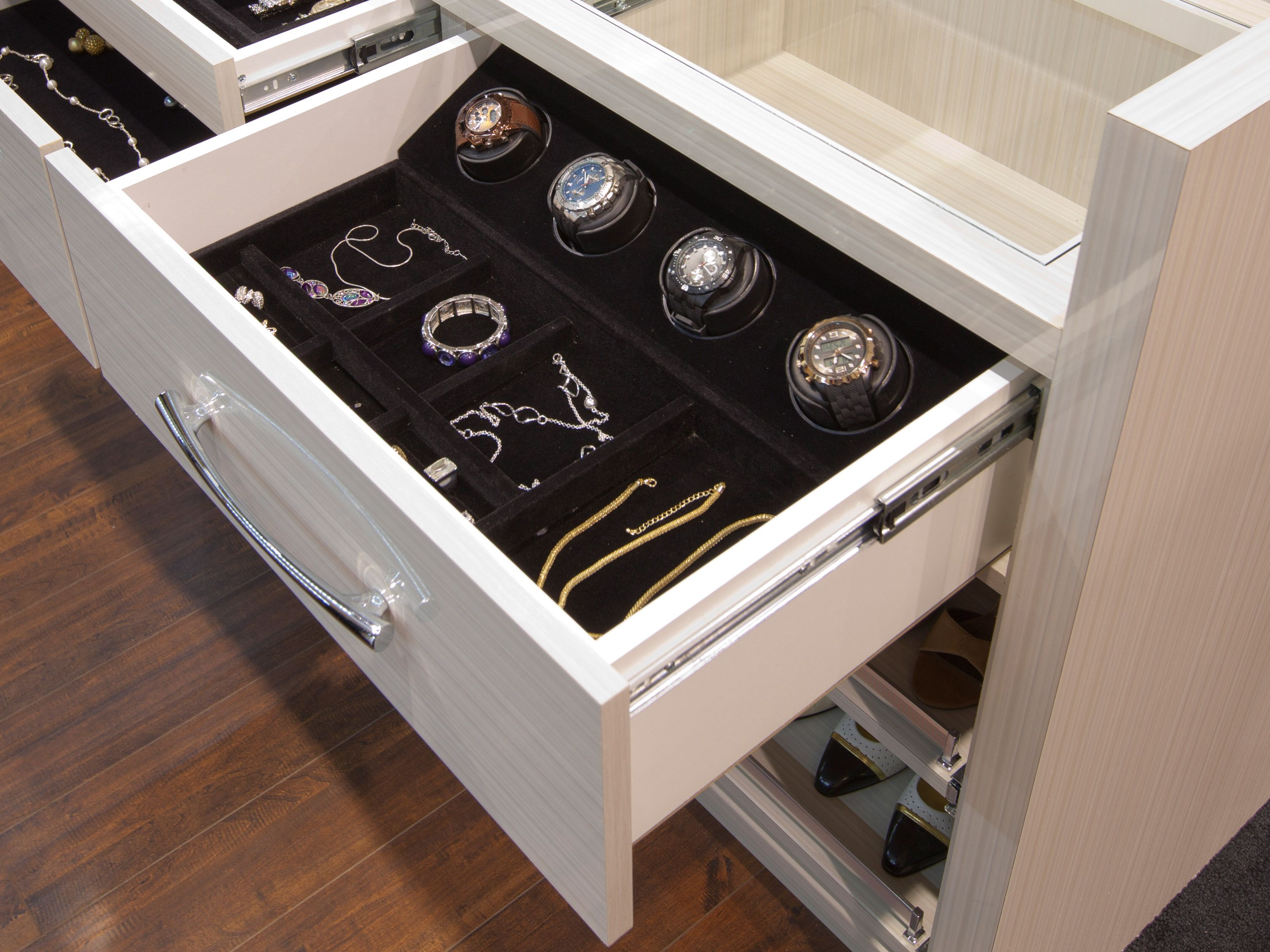Customize Your Closet With Retractable Valet Rods, Jewellery Drawers, Watch  Winders, Pull Out Drawers, Hidden Laundry Hampers And More.