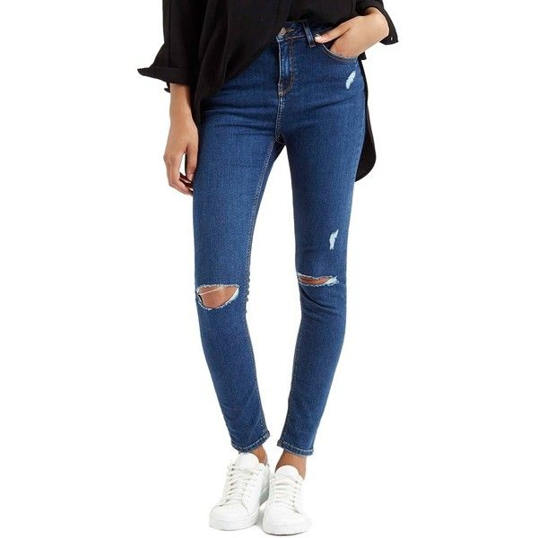 Topshop Moto 'Jamie' High Rise Ripped Jeans (67 CHF) ❤ liked on Polyvore featuring jeans, blue, high rise jeans, high waisted distressed jeans, blue skinny jeans, destroyed skinny jeans and high waisted destroyed jeans